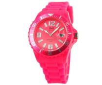 Goedkope horloges kopen? Trendy Uhr in pink mit Datumsanzeige (mit 1 Jahr Garantie auf die Uhr)