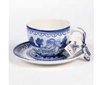 Супер Голяма Delft Blue чаша и чиния (марка Blonde)