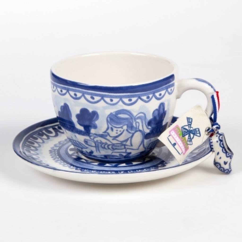 Uitzonderlijk Supergrote Delfts blauwe kop en schotel (merk Blond) - Kado Idee @KU42