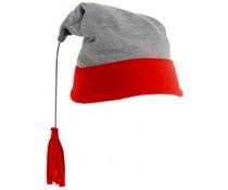 Wintermuts met pluim (rood-grijze muts met rode pluim, volwassen maat)