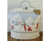 Design Theebeurs met winterse print (dennenbomen en sneeuwpop)