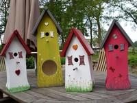 Vogelvoederhuizen (met de hand geschilderd en met de hand gemaakt)
