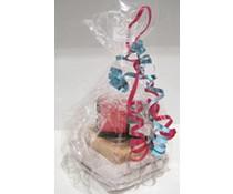 Cellophane Papier mit dekorativen Bändern oder einem schönen Bogen?