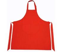 Професионални кухненски престилки в червено (с регулируема врата и отделение за багаж в предната част)