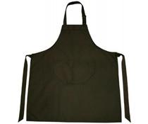 Professionele keukenschorten in de kleur zwart (verstelbaar in de hals en met opbergvakje, kwaliteit 65% polyester/35% katoen)