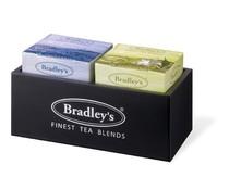 ♣ Bradley's 2-vaks luxe houten theekist (ongevuld)