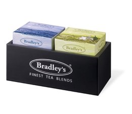 ♣ Bradley's 2-vaks chique zwart houten theekist (ongevuld)