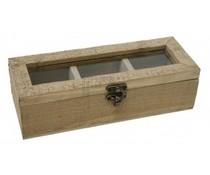 Luxe 3-vaks houten Theekist met kijkvenster in de kleur nostalgisch bruin