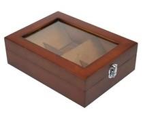Luxe 4-vaks houten bruin gelakte Theekist met kijkvenster