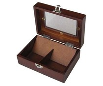 Луксозен 2-отделение дървена кафяв лак Tea Box с прозорец