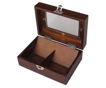 Luxe 2-vaks houten bruin gelakte Theekist met kijkvenster