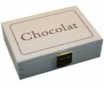 """Design Holzpralinenschachtel Tünche mit Text """"Chocolat"""""""