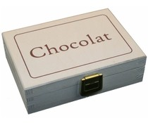 "Design houten chocoladekistje whitewash met tekst ""Chocolat"""