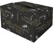 "Black Christmas Boxes mit Thema ""Happiness"" (Qualität Doppel Wellpappe)"