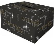 "Zwarte Kerstdozen met thema ""Happiness"" (kwaliteit dubbele golf karton)"