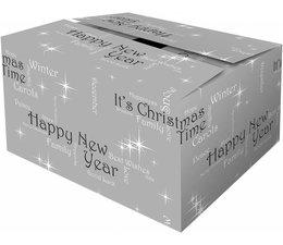 """Hier kunt u goedkope grijze Kerstdozen met thema """"Happiness"""" kopen en direct online bestellen!"""