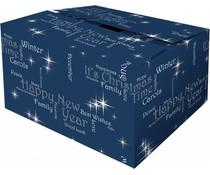 """Blauwe Kerstdozen met thema """"Happiness"""" (in verschillende maten)"""