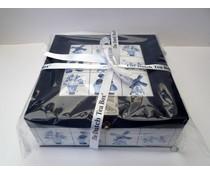 9-vaks theekist (handgemaakt) met typische Hollandse Delfts blauwe tegelprint