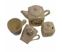 """Nostalgische Tea Set """"Schöne Dorf"""" (1 Teekanne, zwei Tassen und Zuckerdose 1)"""