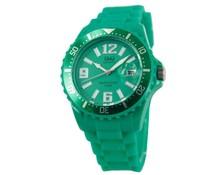 Goedkope horloges kopen? Trendy Uhr (wasserdicht bis 5 bar) mit Datumsanzeige in grün