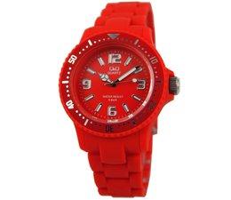 Goedkope horloges kopen? Trendy (водоустойчив до 5 бара) купете червен Q и Q часовник в цвят?