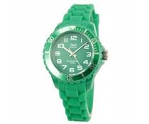 Goedkope horloges kopen? Trendy Q en Q horloge (waterdicht tot 5 bar) in de kleur groen (met 1 jaar garantie op het uurwerk)