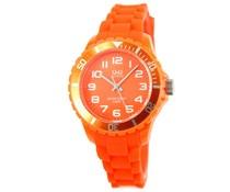 Goedkope horloges kopen? Trendy Q en Q horloge (waterdicht tot 5 bar) in de kleur oranje (met 1 jaar garantie op het uurwerk)