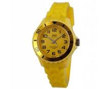 Goedkope horloges kopen? Trendy Q en Q horloge (waterdicht tot 5 bar) in de kleur geel (met 1 jaar garantie op het uurwerk)