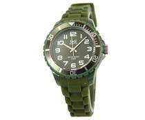 Goedkope horloges kopen? Trendy Q en Q horloge (waterdicht tot 5 bar) in de kleur donkergroen met 1 jaar garantie op het uurwerk)