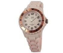 Goedkope horloges kopen? Trendy Q en Q horloge (waterdicht tot 5 bar) in de kleur roze met 1 jaar garantie op het uurwerk)