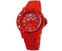 Goedkope horloges kopen? Trendy Q en Q horloge (waterdicht tot 5 bar) in de kleur rood met 1 jaar garantie op het uurwerk)