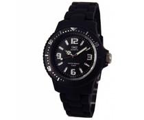 Goedkope horloges kopen? Trendy Q en Q horloge (waterdicht tot 5 bar) in de kleur zwart met 1 jaar garantie op het uurwerk)