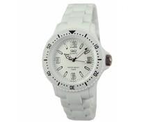 Goedkope horloges kopen? Trendy Q en Q horloge (waterdicht tot 5 bar) in de kleur wit met 1 jaar garantie op het uurwerk)