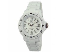 Goedkope horloges kopen? Trendy Q und Q Uhr (wasserdicht bis 5 bar) in der Farbe weiß mit einem Jahr Garantie auf die Uhr)