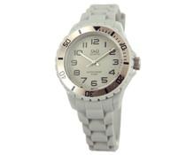 Goedkope horloges kopen? Trendy Q en Q horloge (waterdicht tot 5 bar) in de kleur grijs met 1 jaar garantie op het uurwerk)