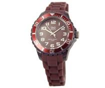 Goedkope horloges kopen? Trendy Q en Q horloge (waterdicht tot 5 bar) in de kleur midden bruin met 1 jaar garantie op het uurwerk)