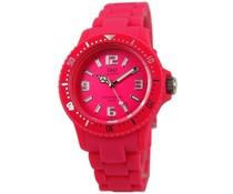 Goedkope horloges kopen? Trendy Q en Q horloge (waterdicht tot 5 bar) in de kleur fuchsia roze met 1 jaar garantie op het uurwerk)
