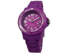 Goedkope horloges kopen? Trendy Q en Q horloge (waterdicht tot 5 bar) in de kleur paars met 1 jaar garantie op het uurwerk)