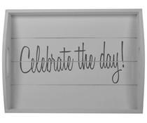 """Serviesonderdelen van het servies """"Celebrate the day!"""" Houten dienblad in de kleur wit met de tekst """"Celebrate the Day"""""""