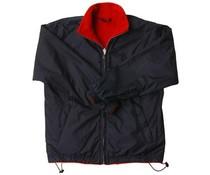 Heerlijke warme fleece jacks voor dames en heren (dubbelzijdig te dragen, buitenzijde blauw nylon en binnenzijde rode fleece)