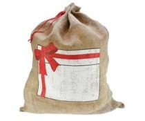Grote Jute Cadeau zakken met een fraaie Cadeau print (afmeting 55 cm x 73 cm)