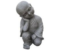 Boeddhabeeld Shaolin Relax in de kleur lichtgrijs/graniet (42 cm hoog, geschikt voor binnen en buiten)