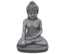 Седейки статуя на Буда в цвят сив / гранит (75 см височина, подходяща за външно и вътрешно)