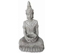 Boeddhabeeld KWAN YIN met bakje in de kleur lichtgrijs/graniet (66 cm hoog, geschikt voor binnen en buiten)