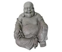 Boeddhabeeld HAPPY in de kleur lichtgrijs/graniet (60 cm hoog, geschikt voor binnen en buiten)
