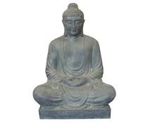 Boeddah zittend groot in de kleur lichtgrijs/graniet (120 cm hoog, geschikt voor binnen en buiten)