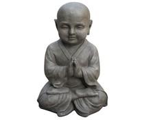 Shaolin Meditatie in de kleur lichtgrijs/graniet (42 cm hoog, geschikt voor binnen en buiten)