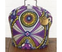 Design Tee-Messe mit Batik-Stoff in den Hauptfarben lila, blau und ockergelb