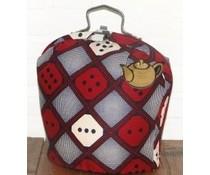 Design Theebeurs  van Batik stof met ruiten in de hoofdkleuren bruin, rood, grijs en wit