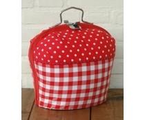 Design Theebeurs combi (rood met witte stippen en een boerenbont rood ruitje)